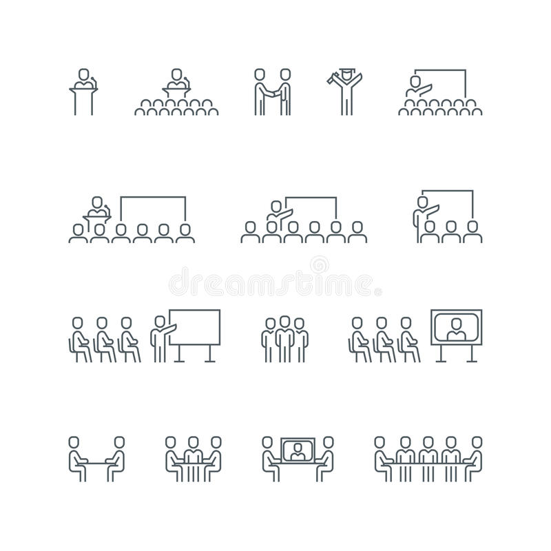 Комплект значка бизнес-линии бесплатная иллюстрация