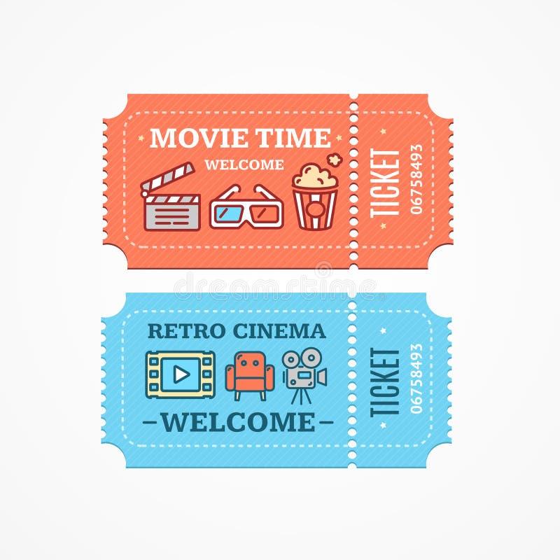 Комплект значка билетов кино плоский вектор бесплатная иллюстрация