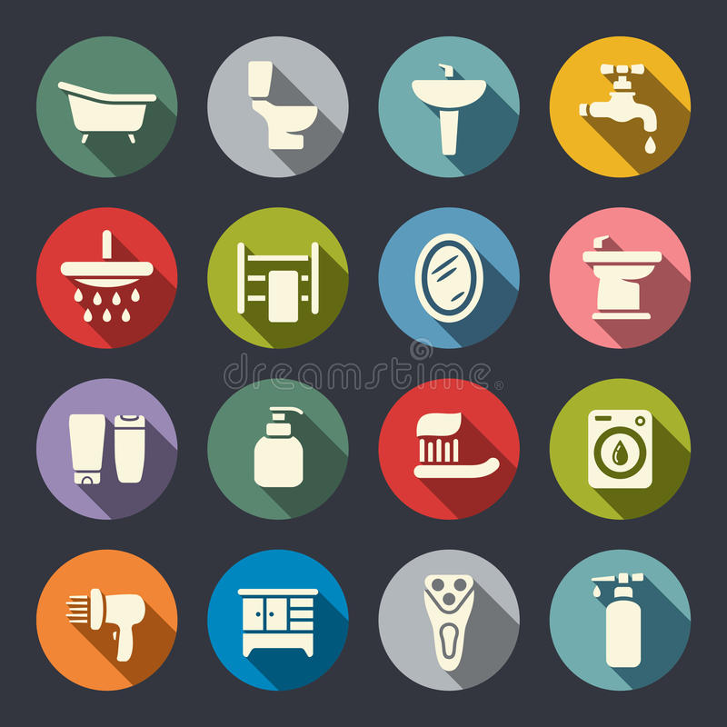 Комплект значка ванной комнаты плоский иллюстрация штока