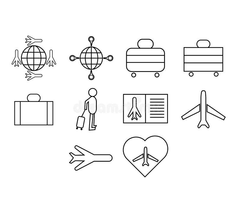 Комплект значка вектора авиапорта бесплатная иллюстрация