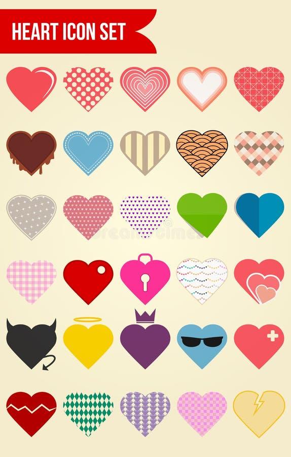 Комплект значка вектора влюбленности 30 сердец иллюстрация вектора