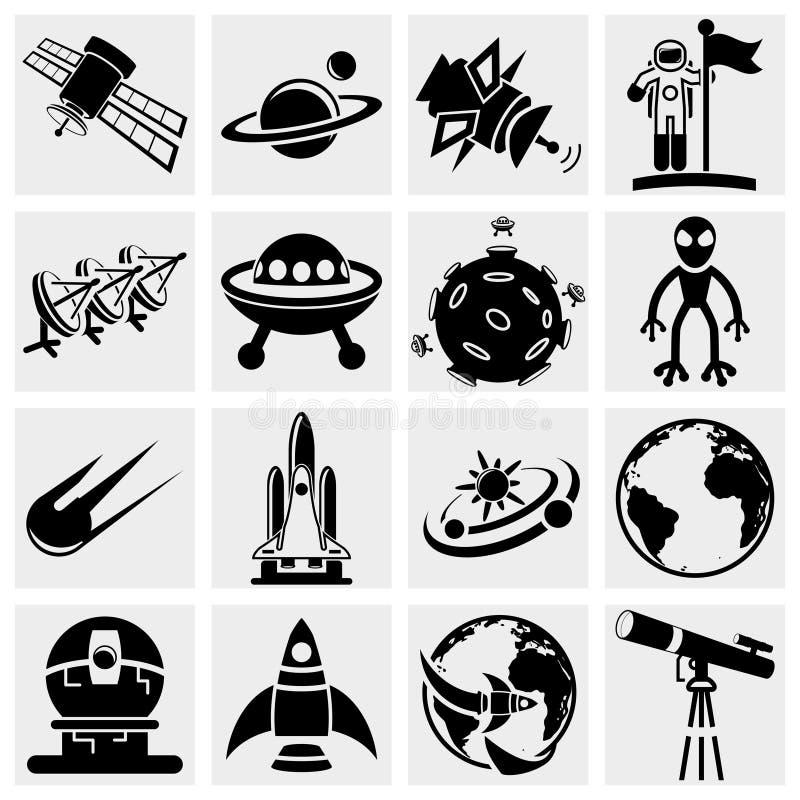 Комплект значка вектора космоса иллюстрация вектора