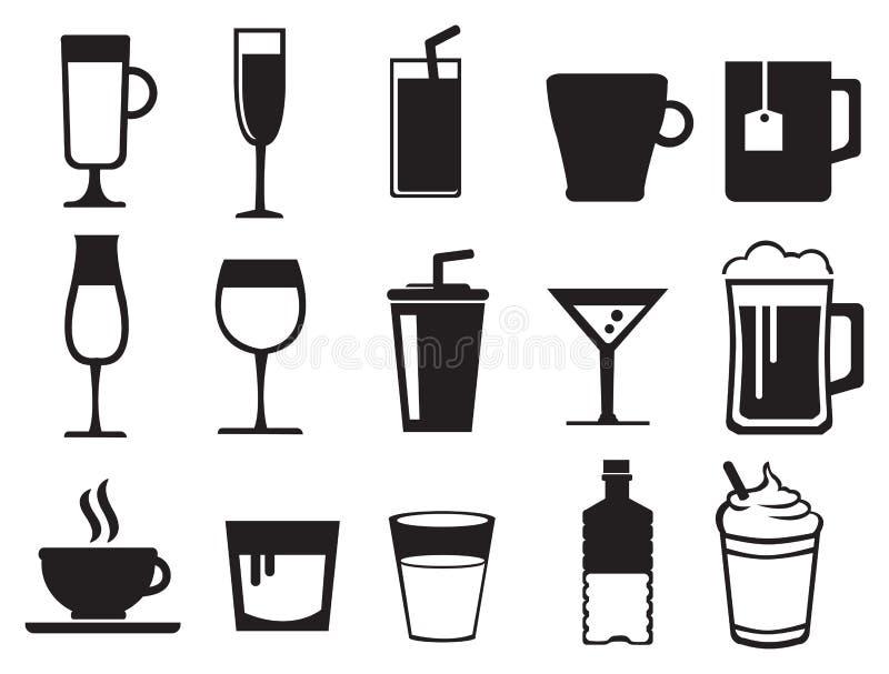 Комплект значка вектора напитков черно-белый иллюстрация вектора