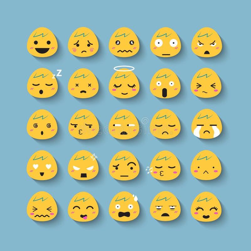 Комплект значка вектора стороны эмоции бесплатная иллюстрация
