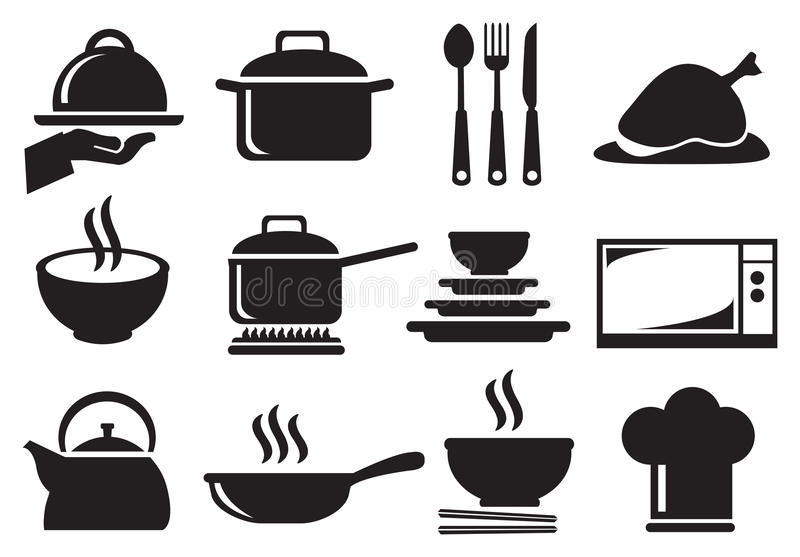 Комплект значка вектора утвари кухни иллюстрация штока