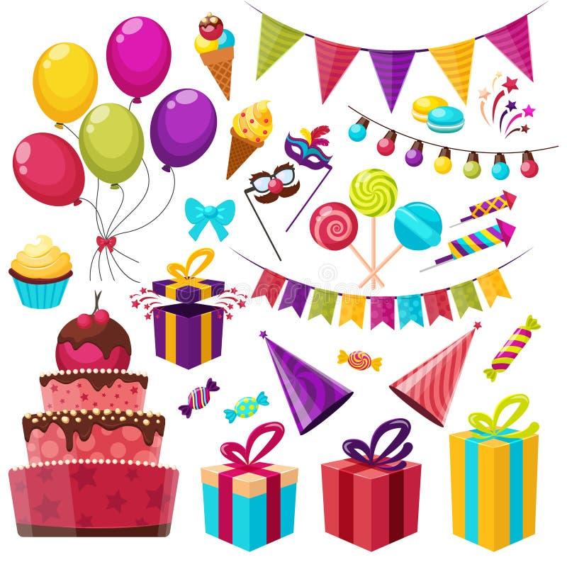 Комплект значка вечеринки по случаю дня рождения иллюстрация штока