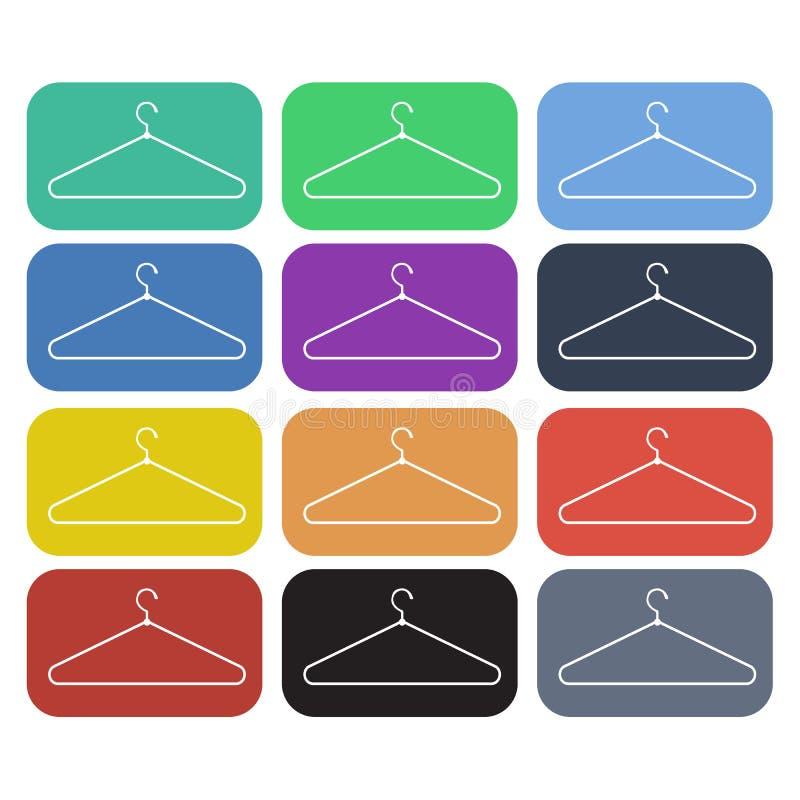 Комплект значка вешалки одежд плоский бесплатная иллюстрация