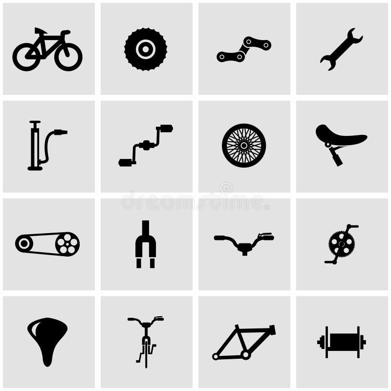 Комплект значка велосипеда вектора черный бесплатная иллюстрация