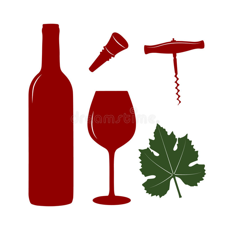 Комплект значка вина иллюстрация штока