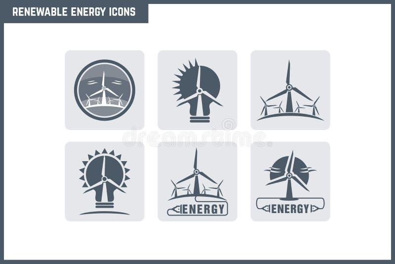 Комплект значка возобновляющей энергии вектора иллюстрация штока