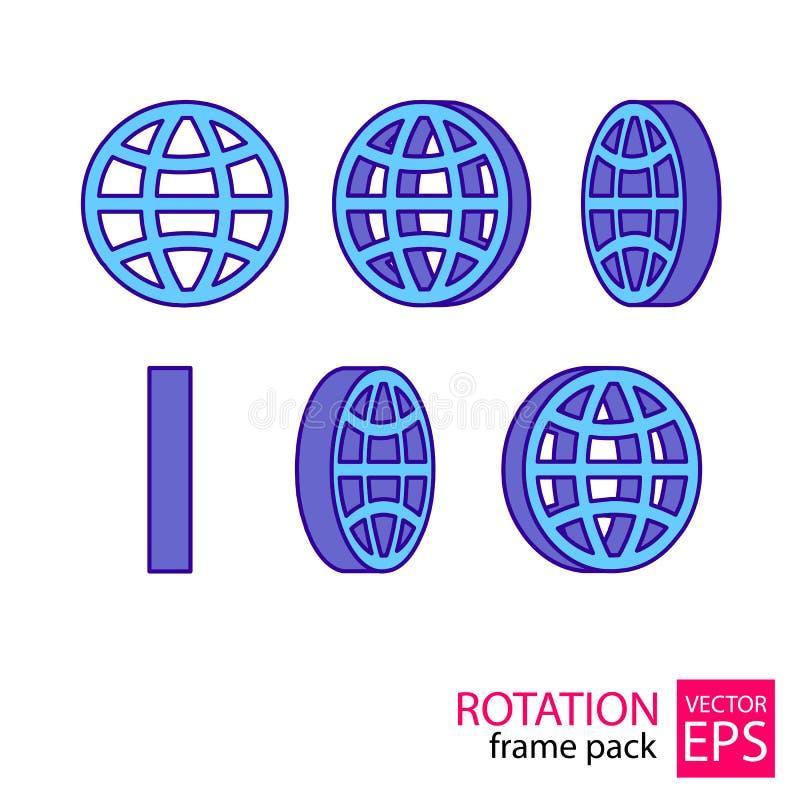 Комплект значка глобуса вращая рамок иллюстрация вектора