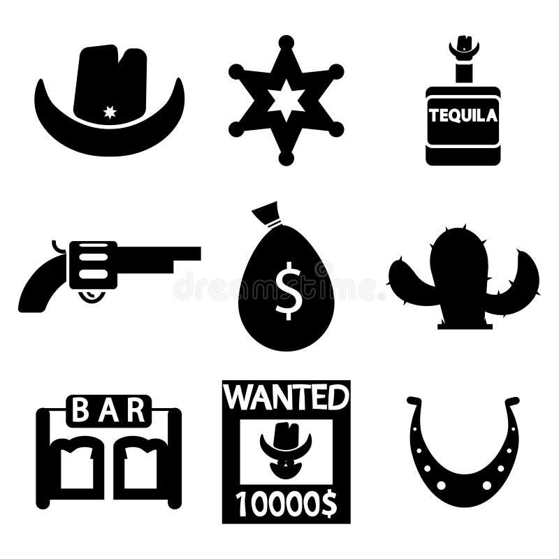 Комплект значка Диких Западов вектора черный иллюстрация штока