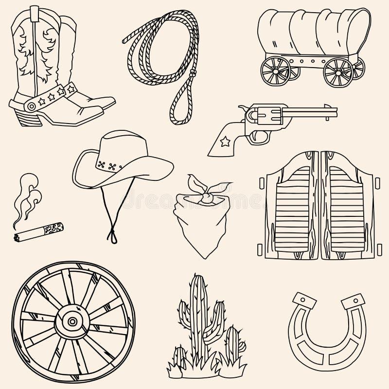 Комплект значка Диких Западов вектора иллюстрация штока