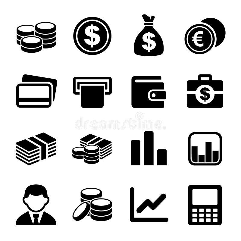 Комплект значка денег иллюстрация вектора