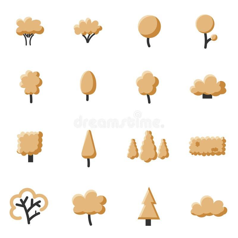 Комплект значка дерева осени бесплатная иллюстрация