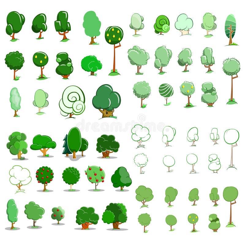 Комплект значка деревьев также вектор иллюстрации притяжки corel иллюстрация вектора