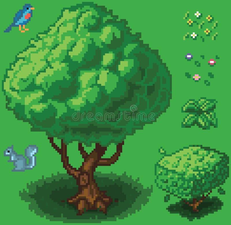 Комплект значка леса искусства пиксела вектора иллюстрация вектора