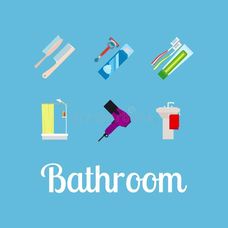 Комплект значка деталей ванной комнаты плоский иллюстрация вектора
