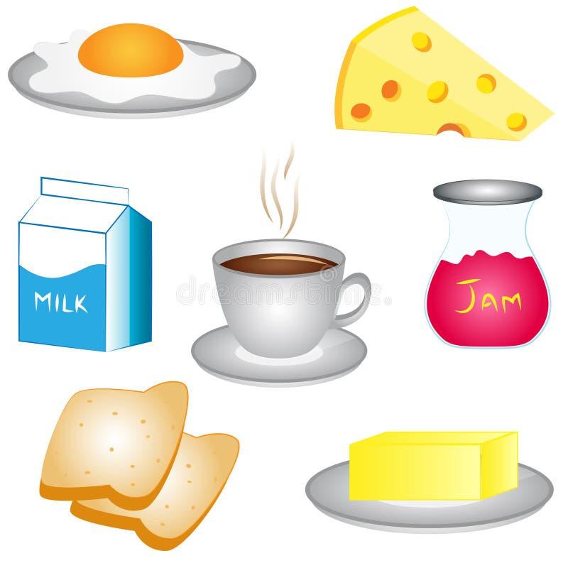 Комплект значка деталей завтрака бесплатная иллюстрация