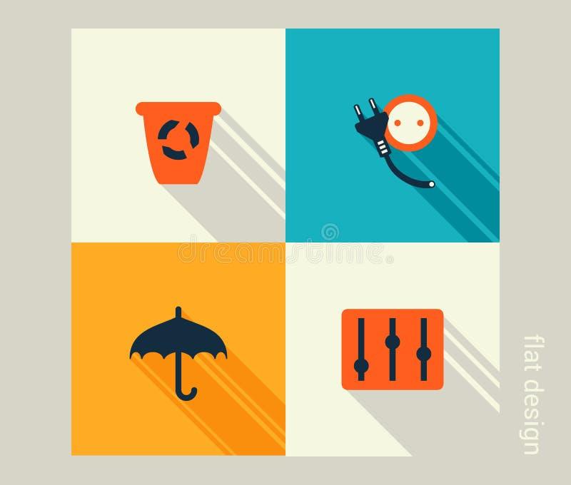 Комплект значка дела Развитие программного обеспечения и сети, маркетинг иллюстрация вектора