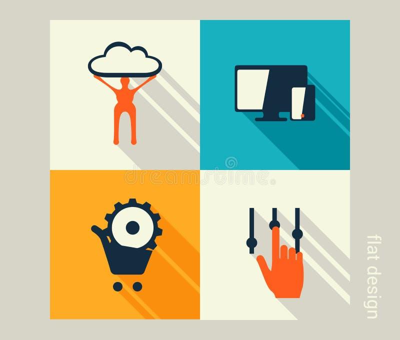 Комплект значка дела Развитие программного обеспечения и сети, маркетинг иллюстрация штока