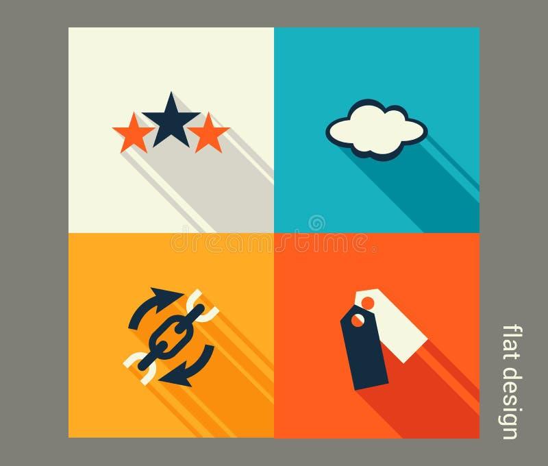 Комплект значка дела Управление, маркетинг, решения электронной коммерции иллюстрация вектора