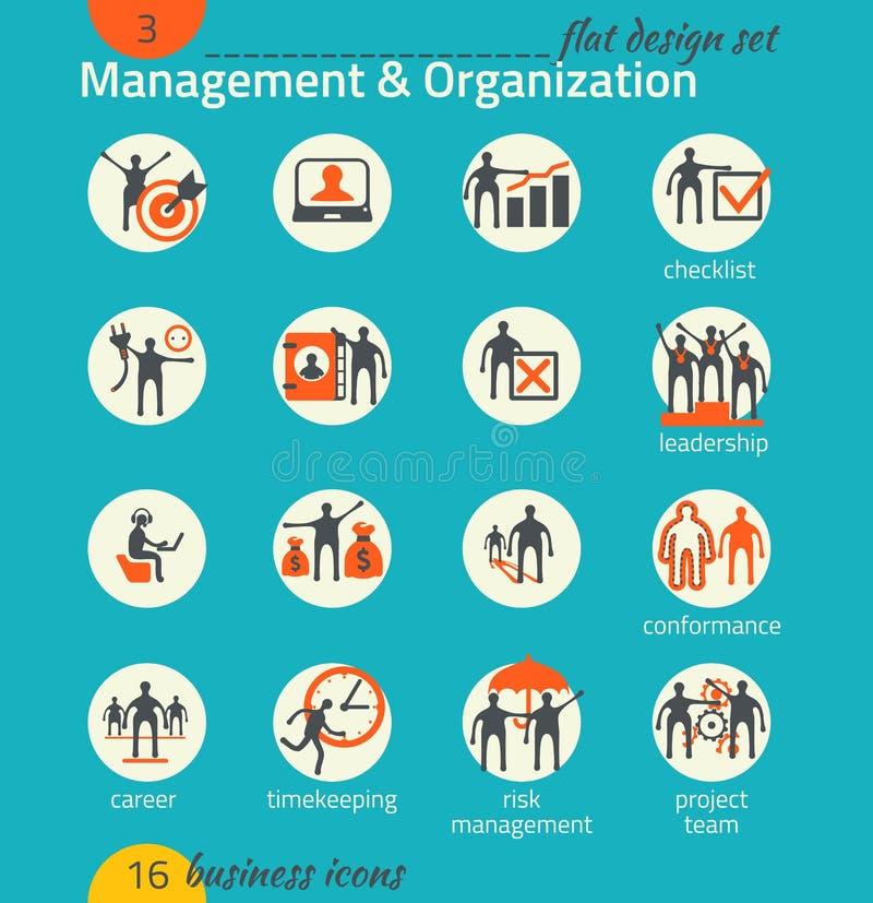 Комплект значка дела Управление, человеческие ресурсы, маркетинг иллюстрация вектора