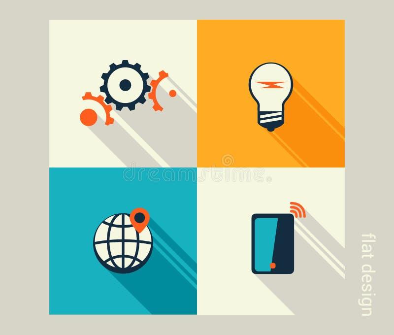 Комплект значка дела Управление, человеческие ресурсы, маркетинг, e-com иллюстрация штока