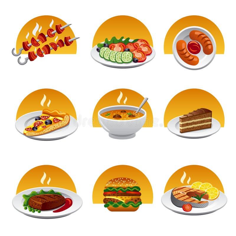 Комплект значка еды иллюстрация штока