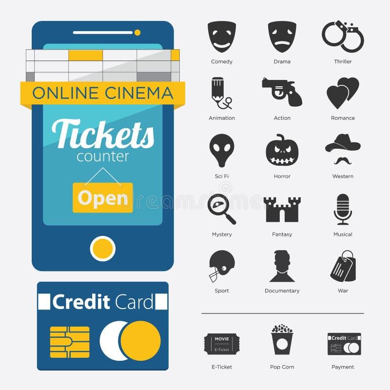 Комплект значка жанра кино, кино онлайн бесплатная иллюстрация