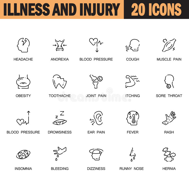 Комплект значка заболеванием бесплатная иллюстрация