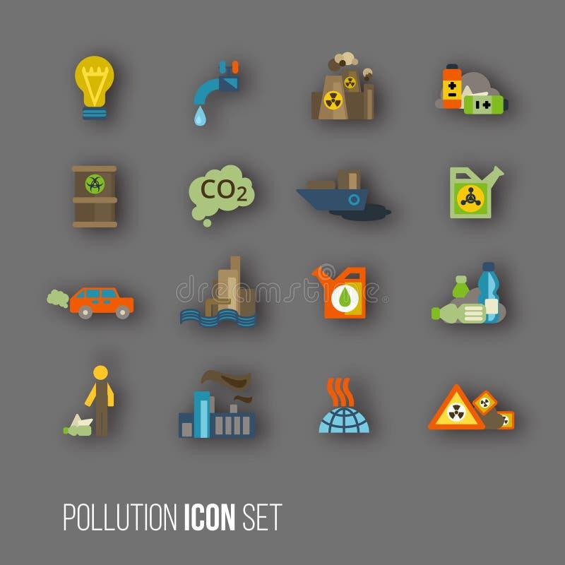 Комплект значка загрязнения иллюстрация вектора