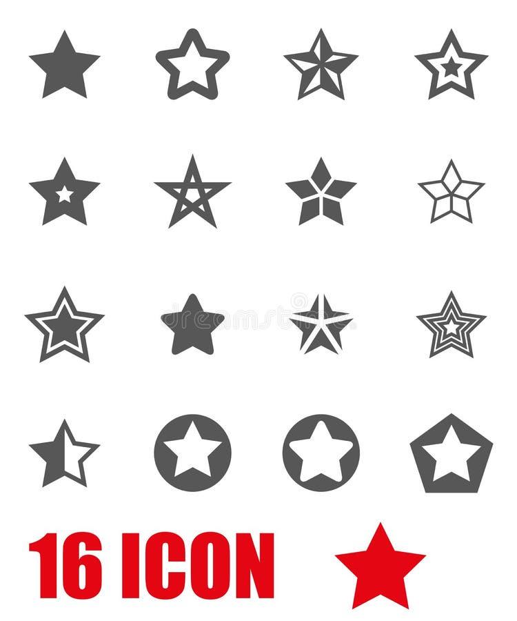 Комплект значка звезд серого цвета вектора иллюстрация вектора