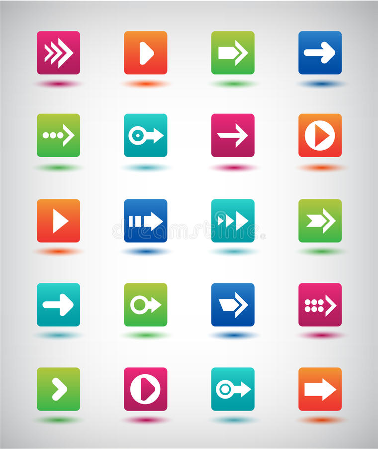 Комплект значка знака стрелки вектора Простая квадратная кнопка интернета формы на серой предпосылке иллюстрация вектора