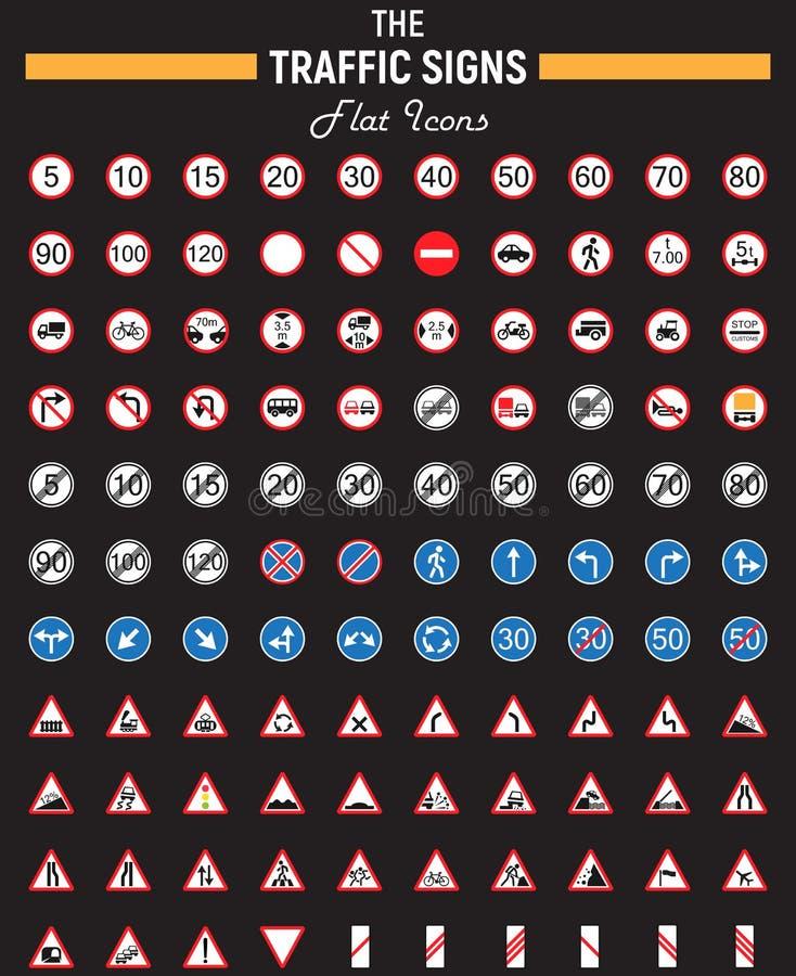 Комплект значка знаков уличного движения плоский, символы дороги иллюстрация вектора