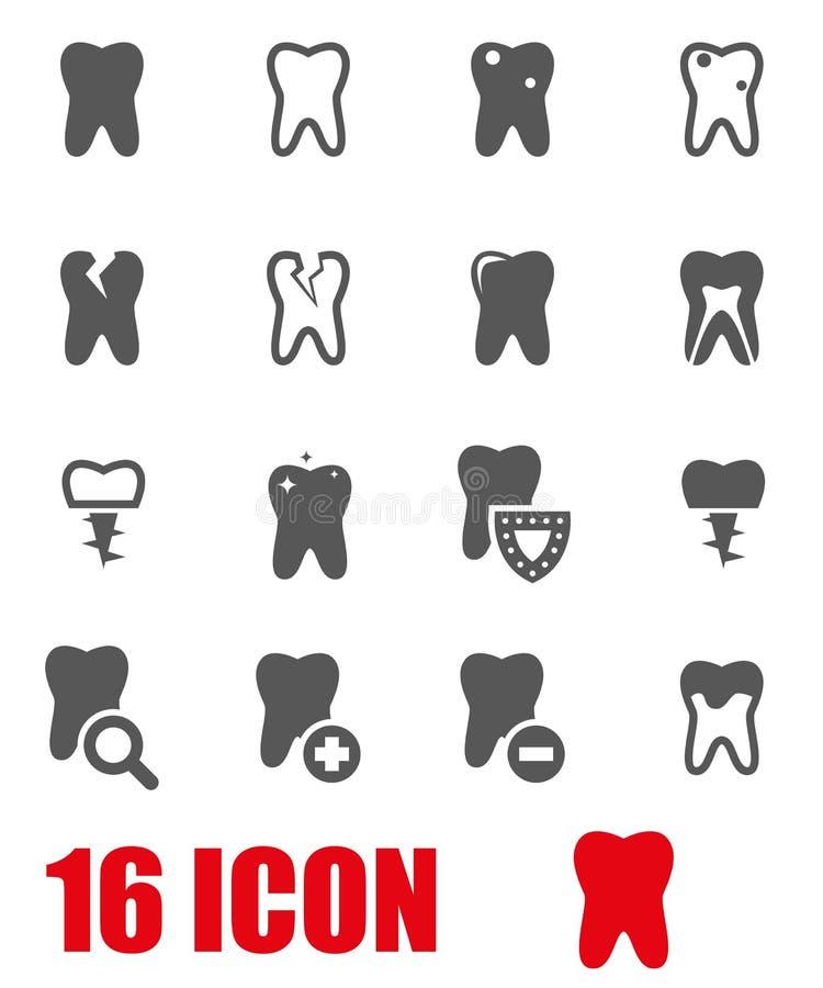 Комплект значка зубов вектора серый бесплатная иллюстрация