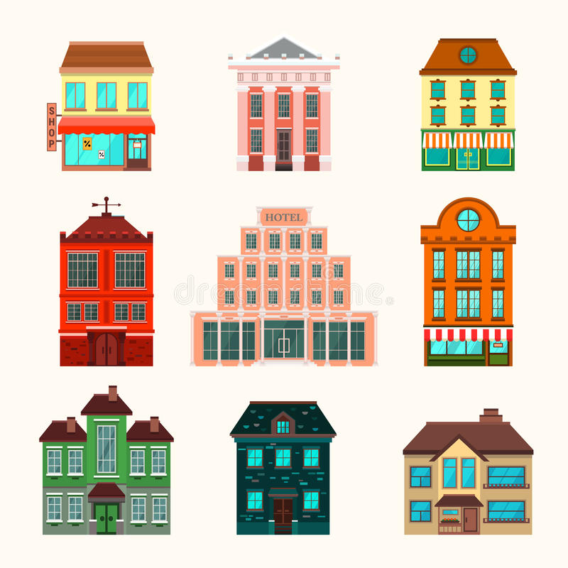 Комплект значка зданий города и городка стоковая фотография