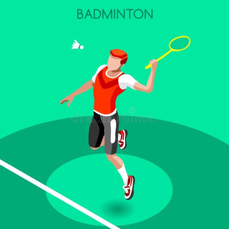 Комплект значка игр лета игрока бадминтона равновеликий игрок бадминтона 3D Конкуренция бадминтона спортивного чемпионата междуна иллюстрация штока