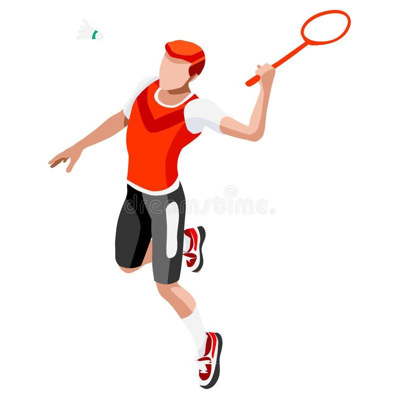 Комплект значка игр лета игрока бадминтона равновеликий игрок бадминтона 3D Олимпиады резвясь бадминтон International чемпионата иллюстрация вектора