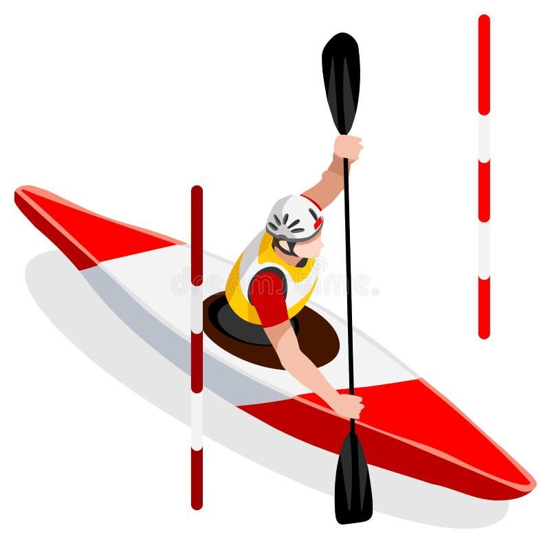 Комплект значка игр лета каное слалома каяка равновеликий Paddler каноиста 3D Гонка спортивной конкуренции каяка слалома Олимпиад иллюстрация вектора