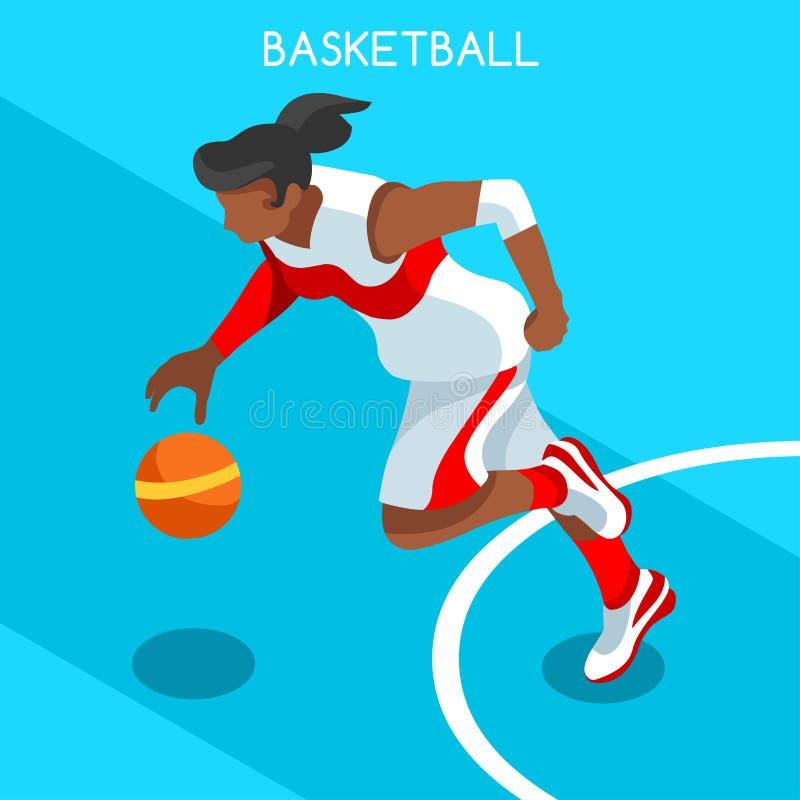 Комплект значка игр лета спортсмена баскетболиста 3D равновеликое иллюстрация вектора