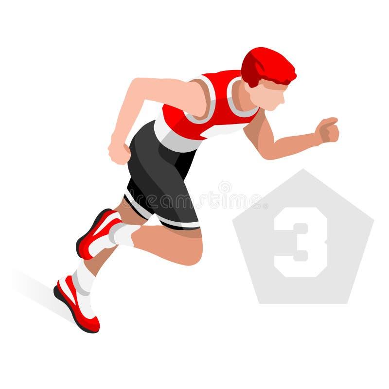 Комплект значка игр лета триатлона Спортсмен Triathlete Олимпиад 3D равновеликий Резвиться современной дороги заплывания триатлон иллюстрация штока