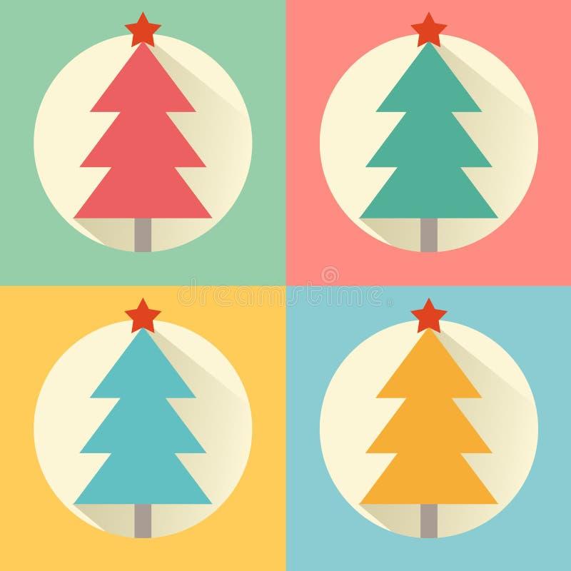Комплект значка дизайна дерева рождества (Нового Года) плоский иллюстрация штока