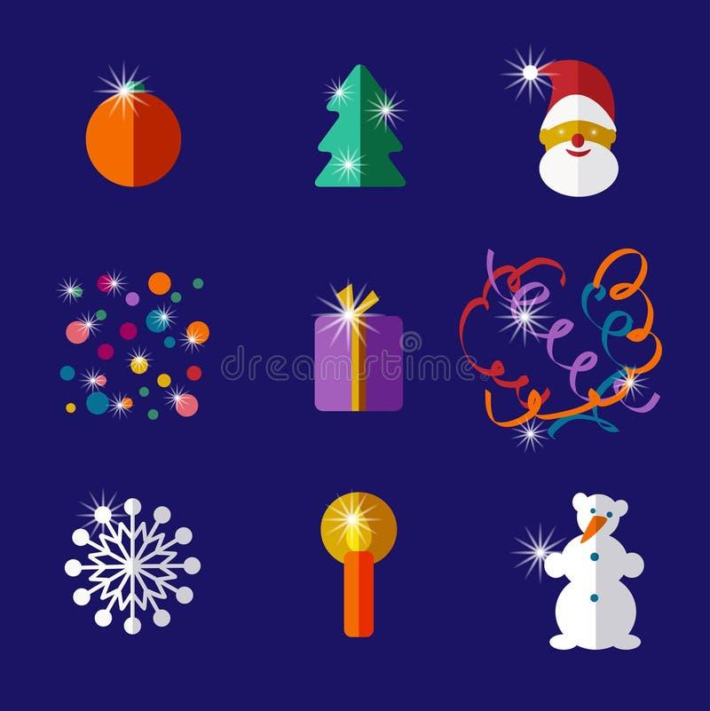 Комплект значка дизайна рождества и Нового Года плоский бесплатная иллюстрация
