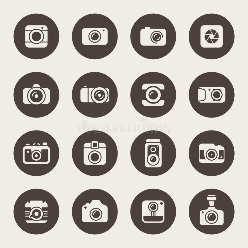 Комплект значка камеры также вектор иллюстрации притяжки corel иллюстрация вектора