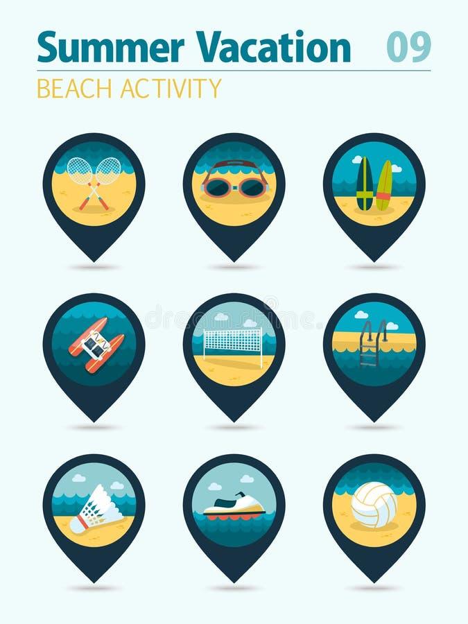 Комплект значка карты штыря деятельности при пляжа Лето Каникулы бесплатная иллюстрация