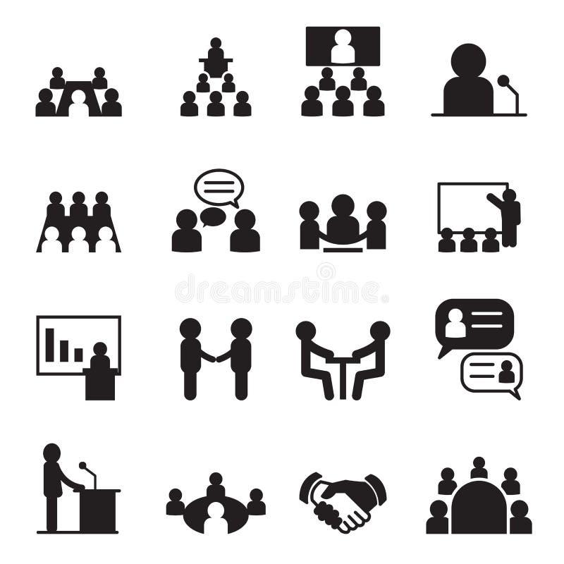 Комплект значка конференции иллюстрация вектора