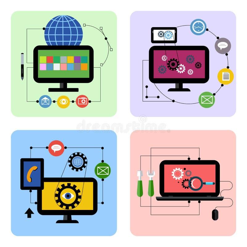 Комплект значка концепции бизнес-процессов в плоском дизайне бесплатная иллюстрация