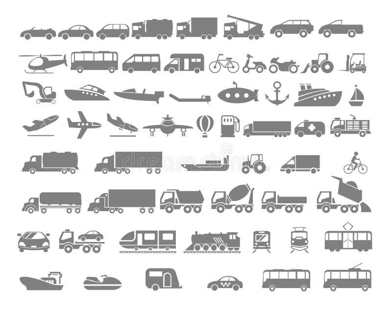 Комплект значка корабля и транспорта плоский иллюстрация вектора