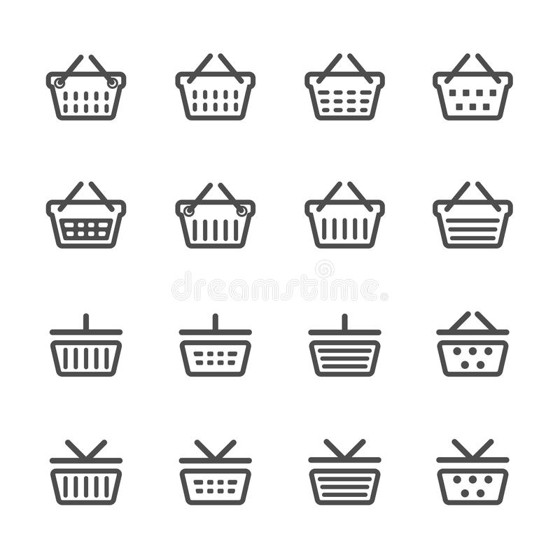 Комплект значка корзины для товаров, линия версия, вектор eps10 иллюстрация вектора